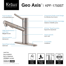 100 kraus pull out kitchen faucet kraus geo axis single