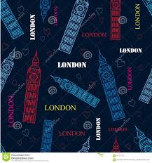 pattern design words vector london big ben tower dark blue seamless repeat pattern with