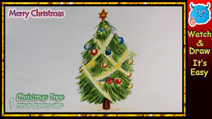 christmas tree drawing easy step by step for christmas 2017 youtube