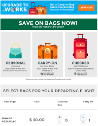 frontier baggage fees i booked my first flight on frontier united told me to pizza in