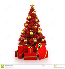 White Christmas Tree With Gold Decorations Red Christmas Tree With Gold Decor On White Background Stock