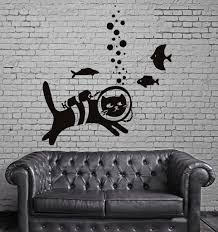 cat and fish pet animal funny children mural wall art decor vinyl cat and fish pet animal funny children mural wall art decor vinyl sticker z715
