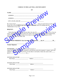 codicil template 39 last will and testament forms templates