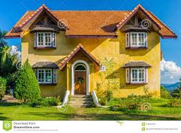 european style house front of vintage yellow european style house stock image image