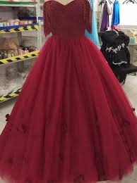 maroon quinceanera dresses gown the shoulder burgundy tulle quinceanera dress with