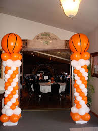 basketball party table decorations basketball party ideas giant basketballs atop classic columns tip