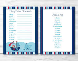 nautical pirate whale baby shower baby word scramble game cards