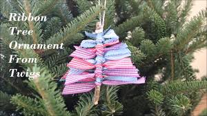 how to make tree ribbon ornament on twigs