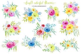 bright watercolor flowers clipart by la design bundles