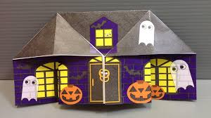origami halloween haunted house print your own paper youtube