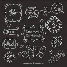 ornaments and cartchword in blackboard effect vector