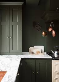 green kitchen cabinet and matching wall colour inspired