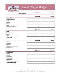 Event Planning Checklist Template Excel Free Printable Budget Worksheets Or Print Planners