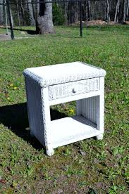 vintage white wicker nightstand table chest shabby cottage wicker