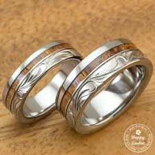 wedding band set titanium wedding band set with hawaiian koa wood inlay engraved w