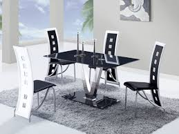 White Dining Room Sets Modern Black Tinted Glass Top Dining Table With Stainless Steel