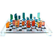 mid century modern chess game board set with lucite pieces charles