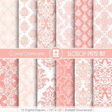 damask wrapping paper coral damask digital paper coral digital paper pack scrapbooking