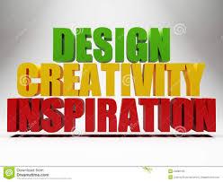 design inspiration words 3d words design creativity inspiration over grey stock illustration