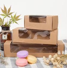 gift cookies 20pcs kraft paper pvc plastic window macarons box kraft paper