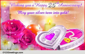 25th Anniversary Wishes Silver Jubilee A Silver Lining Free Milestones Ecards Greeting Cards 123