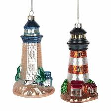 vintage retro glass lighthouse ornaments set of 2 beachfront decor