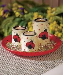 Ladybug Home Decor Ladybug Tea Light Candle Tray Garden Patio Table Kitchen