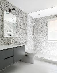 Wall Lining For Bathrooms Gray Kids Bathroom With Gray Hex Tile Walls Contemporary Bathroom