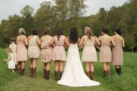 blush bridesmaids dresses with cowboy boots