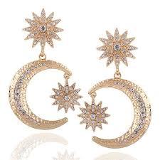 big earrings big gold moon drop earrings the trendi shop