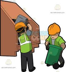 two male sanitation workers dumping garbage into the truck cartoon