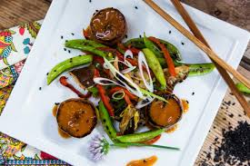 braised daikon scallops with sugar snap peas u0026 shiitake mushroom