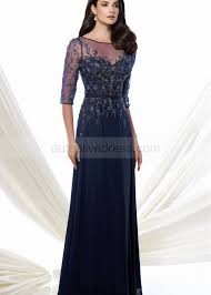 a line scoop neckline sweep train navy blue beaded chiffon lace