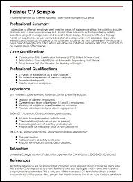 Resume Core Qualifications Examples by Painter Cv Sample Myperfectcv