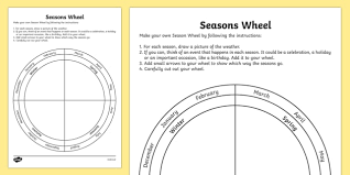 seasons wheel activity sheet seasons wheel activity sheet