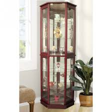 amusing red wooden color kitchen corner curio cabinet with glass