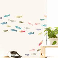 colorful fish art mural sticker decor bathroom kitchen cup laptop