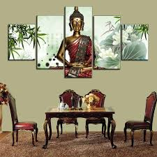 Buddha Home Decor Statues 2017 China Bamboo Thai Buddha Statue Canvas Wall Painting Art