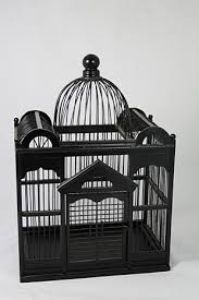 large ornamental black wooden bird cage