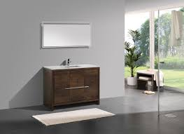 48 inch rose wood modern single sink bathroom vanity with white