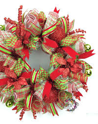 on sale deco mesh wreath in lime green with