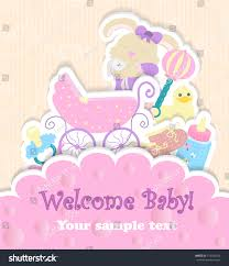 baby shower card baby arrival card stock vector 115744543