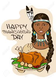 thanksgiving meal clipart thanksgiving card with native american indian holding dish