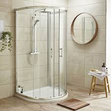 pacific d shape shower enclosure inc shower tray waste at
