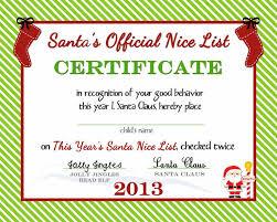 santa u0027s official nice list certificate free printable by