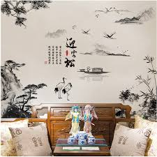 river home decor chinese style guest greeting pine mountain river painting