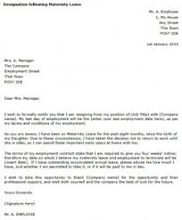 maternity leave resignation letter example toresign com