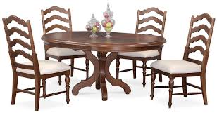 charleston round dining table and 4 side chairs tobacco