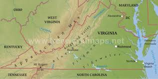 virginia map physical map of virginia