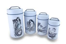 white kitchen canisters sets 4 piece blue white mermaid print nesting metal canister set